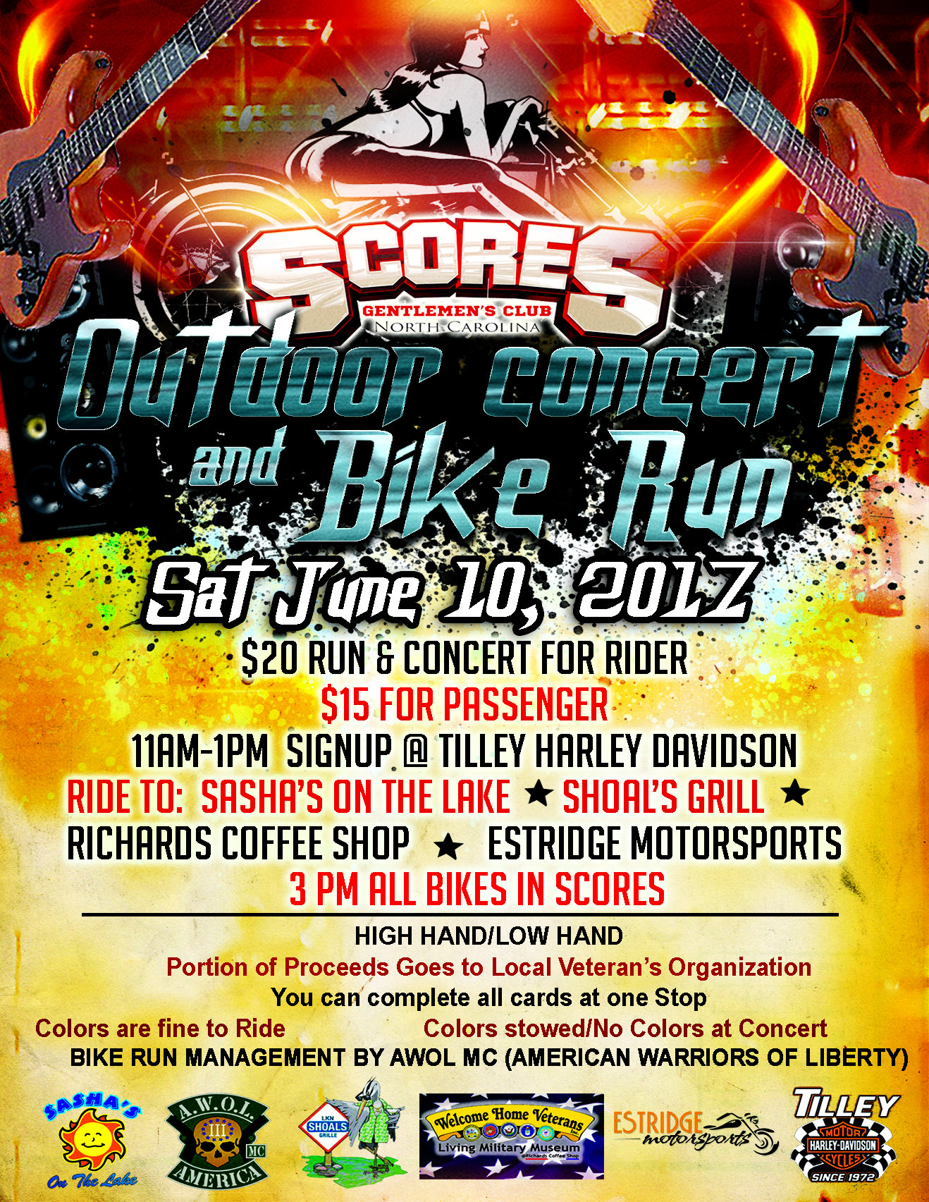 Outdoor Concert & Bike Run @ SCORES Gentlemen's Club | Mooresville | North Carolina | United States