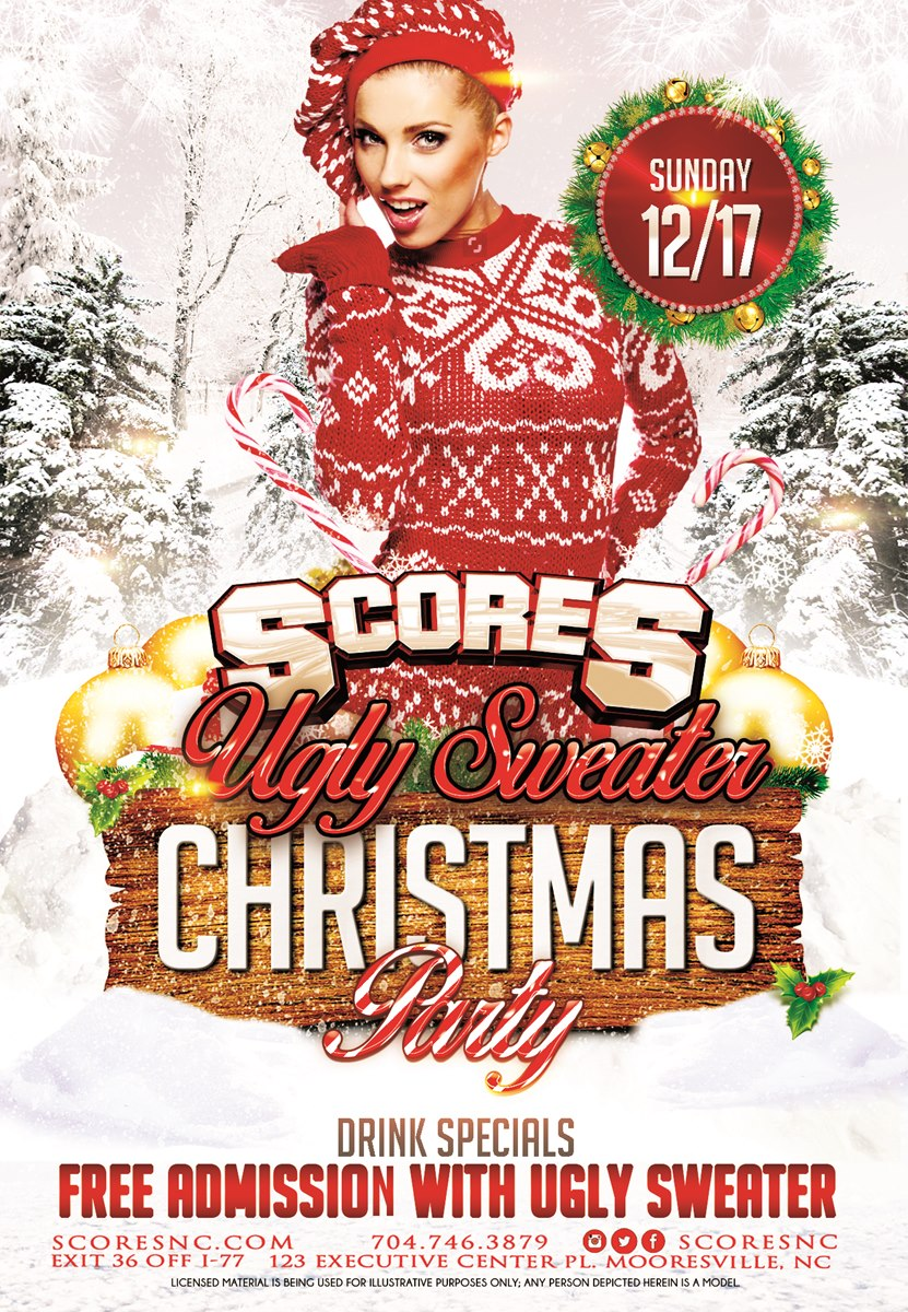 Ugly Sweater Christmas Party @ SCORES Gentlemen's Club | Mooresville | North Carolina | United States